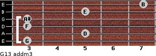 G13 add(m3) for guitar on frets 3, 5, 3, 3, 5, 7