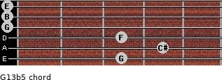 G13b5 for guitar on frets 3, 4, 3, 0, 0, 0