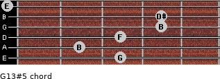 G13#5 for guitar on frets 3, 2, 3, 4, 4, 0