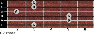 G2 for guitar on frets 3, 5, 5, 2, 3, 3