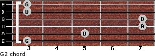 G2 for guitar on frets 3, 5, 7, 7, 3, 3