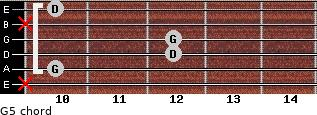 G5 for guitar on frets x, 10, 12, 12, x, 10