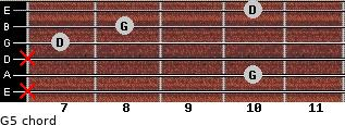 G5 for guitar on frets x, 10, x, 7, 8, 10