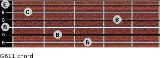 G6/11 for guitar on frets 3, 2, 0, 4, 1, 0