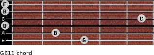 G6/11 for guitar on frets 3, 2, 0, 5, 0, 0