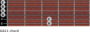 G6/11 for guitar on frets 3, 3, 0, 0, 0, 0