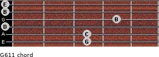 G6/11 for guitar on frets 3, 3, 0, 4, 0, 0