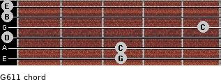 G6/11 for guitar on frets 3, 3, 0, 5, 0, 0