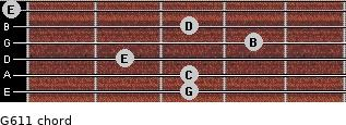 G6/11 for guitar on frets 3, 3, 2, 4, 3, 0