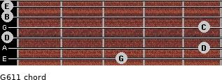 G6/11 for guitar on frets 3, 5, 0, 5, 0, 0