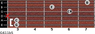 G6/11b5 for guitar on frets 3, 3, x, 6, 5, 7