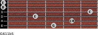 G6/11b5 for guitar on frets 3, 4, 2, 5, 0, 0