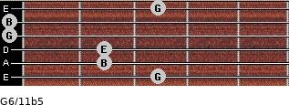 G6/11b5 for guitar on frets 3, 2, 2, 0, 0, 3
