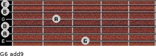 G6(add9) for guitar on frets 3, 0, 0, 2, 0, 0