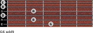 G6(add9) for guitar on frets 3, 2, 0, 2, 0, 0