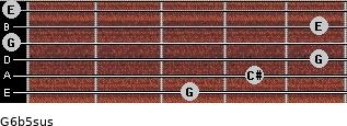 G6b5sus for guitar on frets 3, 4, 5, 0, 5, 0