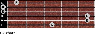 G7 for guitar on frets 3, 5, 5, 0, 0, 1