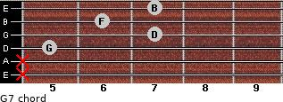 G7 for guitar on frets x, x, 5, 7, 6, 7