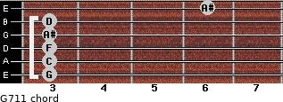 G-7/11 for guitar on frets 3, 3, 3, 3, 3, 6