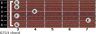 G7/13 for guitar on frets 3, 7, 3, 4, 3, 3
