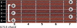 G7/13 for guitar on frets 3, 7, 3, 7, 3, 7