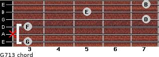 G7/13 for guitar on frets 3, x, 3, 7, 5, 7