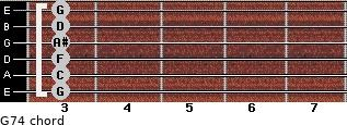 G-7/4 for guitar on frets 3, 3, 3, 3, 3, 3