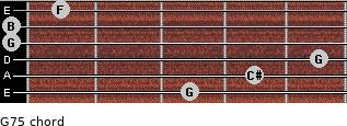 G7(-5) for guitar on frets 3, 4, 5, 0, 0, 1