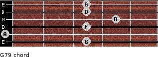 G7/9 for guitar on frets 3, 0, 3, 4, 3, 3