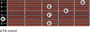 G7/9 for guitar on frets 3, 0, 3, 4, 3, 5