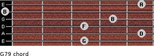 G7/9 for guitar on frets 3, 5, 3, 4, 0, 5