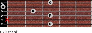 G7/9 for guitar on frets 3, x, 3, 2, 0, 3