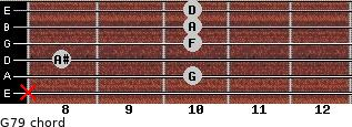 G-7/9 for guitar on frets x, 10, 8, 10, 10, 10