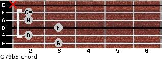 G7/9(b5) for guitar on frets 3, 2, 3, 2, 2, x