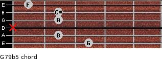 G7/9(b5) for guitar on frets 3, 2, x, 2, 2, 1