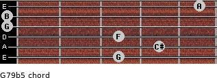 G7/9(b5) for guitar on frets 3, 4, 3, 0, 0, 5