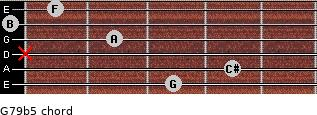 G7/9(b5) for guitar on frets 3, 4, x, 2, 0, 1
