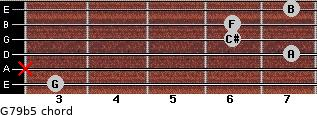 G7/9(b5) for guitar on frets 3, x, 7, 6, 6, 7