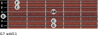 G-7(add11) for guitar on frets 3, 3, 0, 3, 1, 1