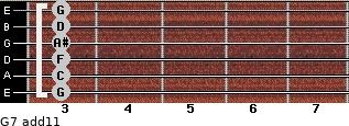 G-7(add11) for guitar on frets 3, 3, 3, 3, 3, 3