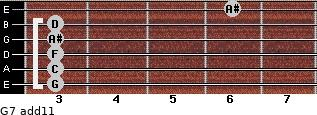 G-7(add11) for guitar on frets 3, 3, 3, 3, 3, 6
