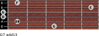 G-7(add13) for guitar on frets 3, 1, 0, 0, 5, 1