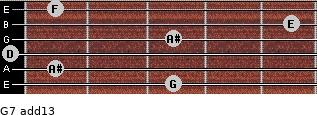 G-7(add13) for guitar on frets 3, 1, 0, 3, 5, 1