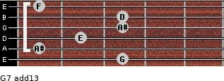 G-7(add13) for guitar on frets 3, 1, 2, 3, 3, 1