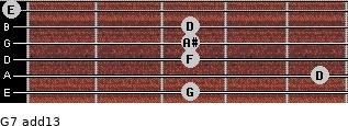 G-7(add13) for guitar on frets 3, 5, 3, 3, 3, 0
