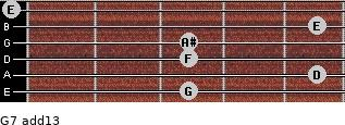 G-7(add13) for guitar on frets 3, 5, 3, 3, 5, 0
