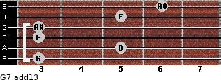 G-7(add13) for guitar on frets 3, 5, 3, 3, 5, 6