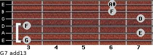 G-7(add13) for guitar on frets 3, 7, 3, 7, 6, 6