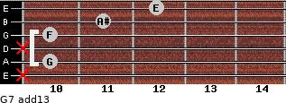 G-7(add13) for guitar on frets x, 10, x, 10, 11, 12