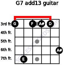 G-7(add13) for guitar on frets 3, 7, 3, 3, 3, 6